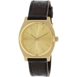 Nixon Men's Time Teller A0451882 Gold Leather Quartz Watch