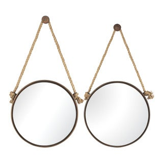 Round Mirrors On Rope (Set of 2)