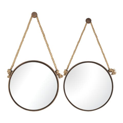 Sterling Set of 2 Round Wall Mirrors on a Rope - Rust