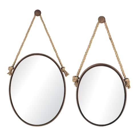Oval Mirrors On Rope (Set of 2)