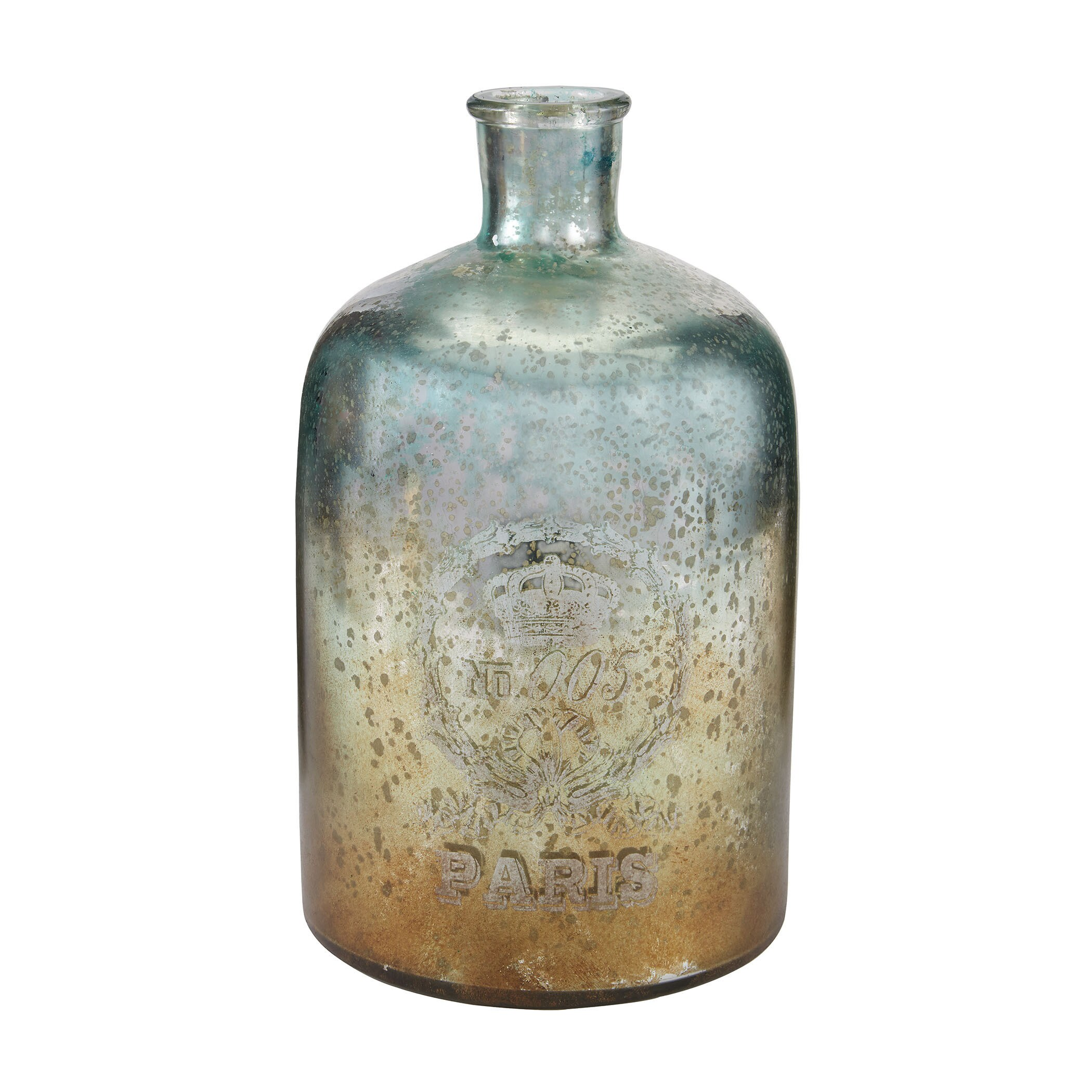 Sterling 12-inch Aqua Antique Mercury Glass Bottle (Antiq...
