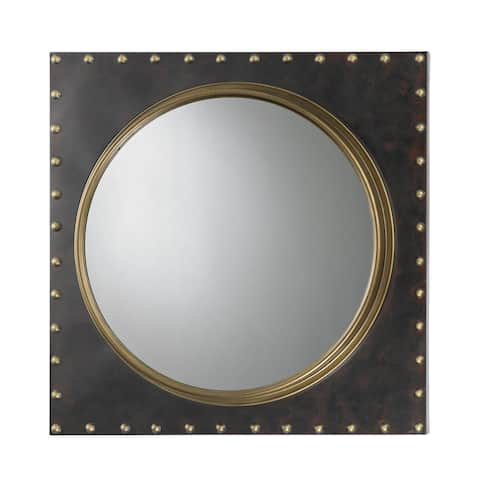 Sterling Metal Porthole Wall Mirror - Bronze/Antique Gold