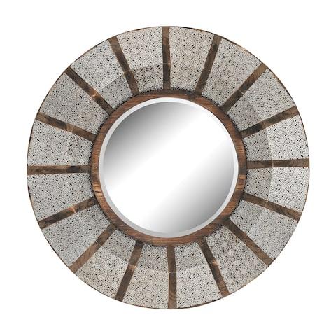 Pierced Metal Frame Work and Wood Mirror