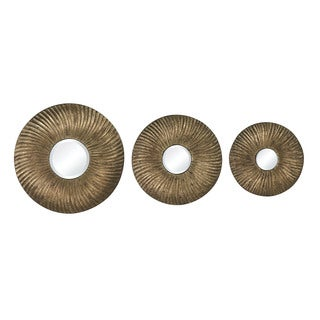 Sterling Set of 3 Round Mini Mirrors - Gold/Brown
