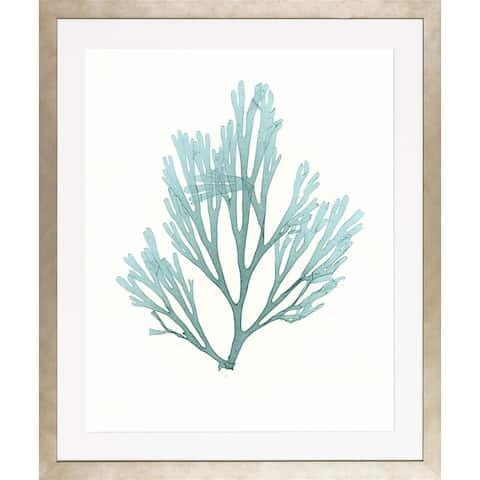 Blue Seaweeds-Medium Framed Art Print III - Frosted Champagne Finish