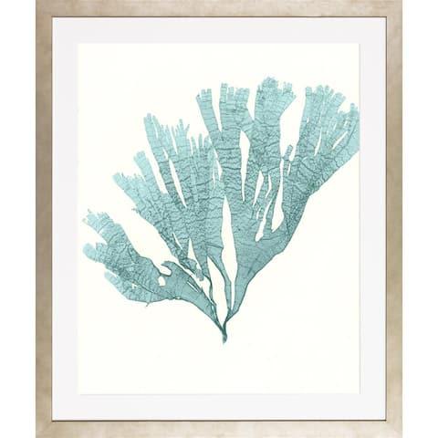 Blue Seaweeds-Medium Framed Art Print VI - Frosted Champagne Finish