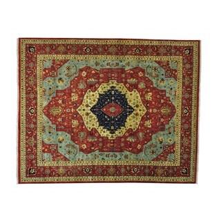 Antiqued Serapi Heriz Handmade Oversize Oriental Rug (12' x 14'10)