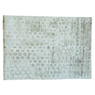 Rayon from Bamboo Silk Handmade Modern Beehive Design Oriental Rug (10' x 13'10)