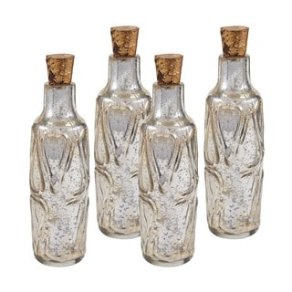 Sterling 10-inch Mouth Blown Mercury Glass Bottle (Set of 4)