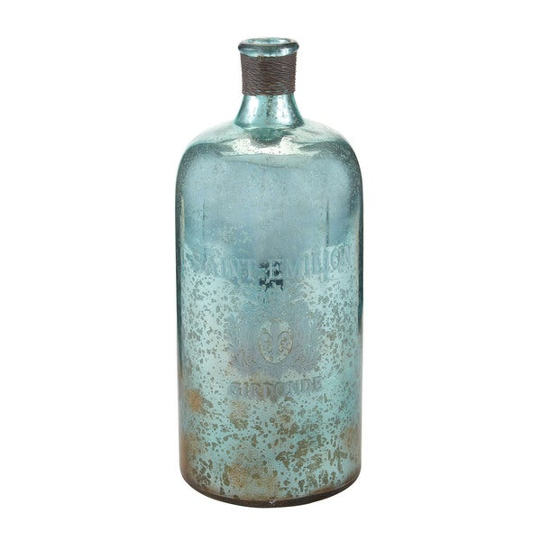 Sterling 13-inch Aqua Antique Mercury Glass Bottle
