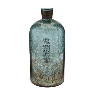 Sterling 18-inch Aqua Antique Mercury Glass Bottle