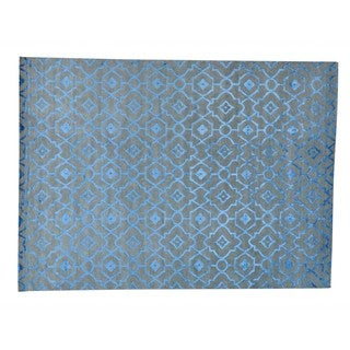 Wool and Rayon from Bamboo Silk Arts and Crafts Design Handmade Rug (10'1 x 14')