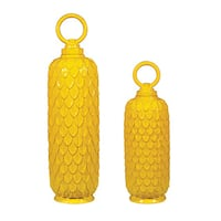 Sterling Set of Two Sunshine Yellow Ceramic Jars
