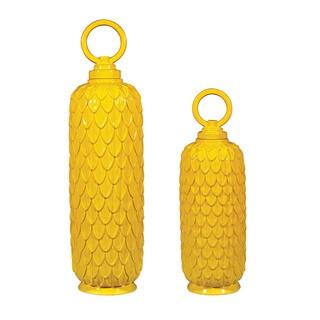 Sterling Set of Two Sunshine Yellow Ceramic Jars