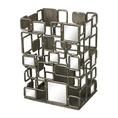 Sterling Alvis-metal and Antique Mirror Vase