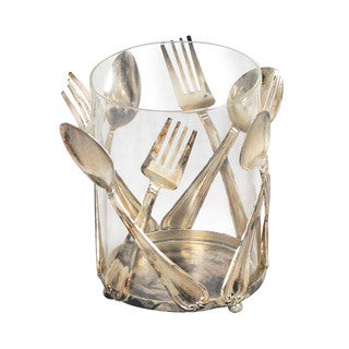Utensil Holder Decorated with Sterling-style Flatware Decorations