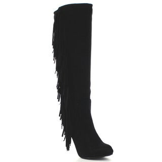 Breckelle's Philly-11 Women's Fringe Stiletto Knee High Boots