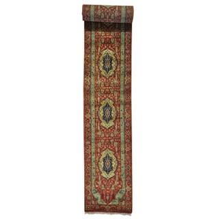 XL Runner Pure Wool Antiqued Heriz Handmade Oriental Rug (2'6 x 23'7)