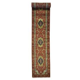 XL Runner Antiqued Heriz Pure Wool Handmade Oriental Rug (2'7 x 17'7)