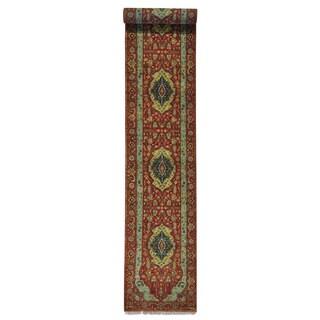 XL Runner Rust Red Antiqued Heriz Handmade Oriental Rug (2'7 x 15'7)