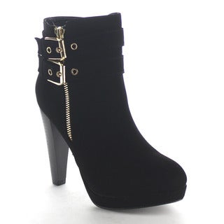 Beston Ca76 Women's Double Buckle Ankle Booties