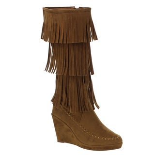 Beston Ga27 Women's Fashion Three Layer Fringe Wedge Moccasin Boots