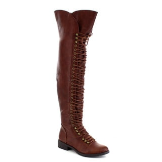 Mark and Maddux Travis-05 Women's Fashion Thigh High Combat Lace Up Boots