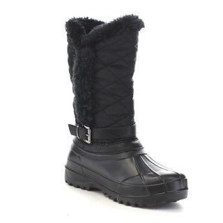 Beston Ga38 Women's Warm Diamond Shape Deco Waterproof Strap Duck Boots