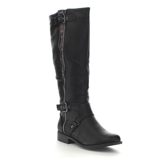 Beston Ga33 Women's Stylish Side Zipper Straps Mid Calf Riding Boots