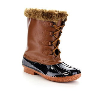 Forever Few21 Women's Faux Fur Lace Up Waterproof Snow Boots