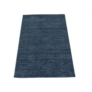 Grey Pure Wool Thick and Plush Loomed Gabbeh Oriental Rug (2' x 3')