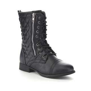 Beston Ga12 Women's Diamond Quilted Deco Combat Boots