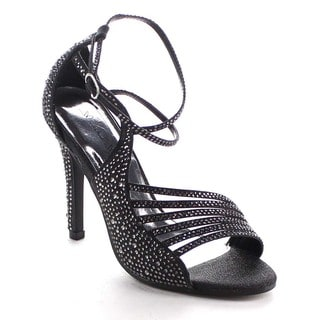 Beston Bb13 Women's Rhinestone Strappy Stiletto Shoes