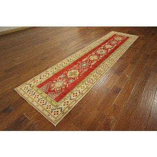 Floral Design Super Kazak Hand-knotted Wool Oriental Area Rug (2'9 x 10'10)