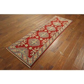 Super Kazak Adina Collection Barn Red Hand-knotted Wool Floral Area Rug (2'3 x 6'10)