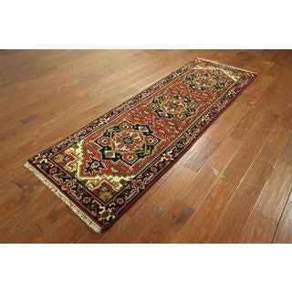 Heriz Hand-knotted Wool Persian Veg Dyed Serapi Floral Area Rug (2'8 x 8'2)