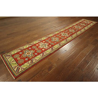 Hand-knotted Wool Red Caucasian Veg Dyed Runner Oriental Area Rug (2'4 x 12'9)