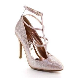 Beston Bb10 Women's Pointed Toe Three Straps Stiletto Heel Glitter Pumps