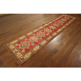 Persian Super Kazak Vermilion Hand-knotted Wool Geomation Area Rug (2'9 x 11'2)