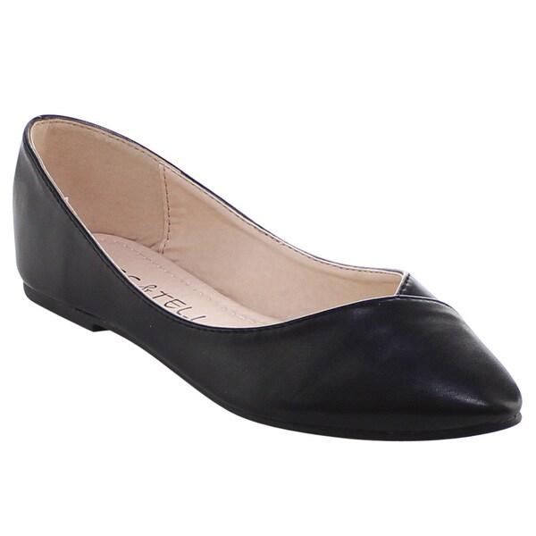 Beston Bb19 Women's Closed Pointed Toe Slip On Ballet Flats