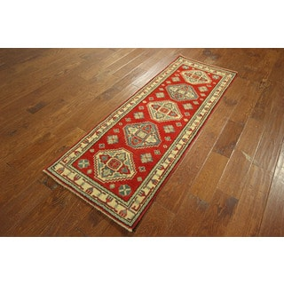 Fine Super Kazak Medallion Style Pure Red Hand-knotted Wool Area Rug (2'2 x 6'0)