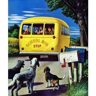 Marmont Hill - School Bus by Stevan Dohanos Painting Print on Canvas