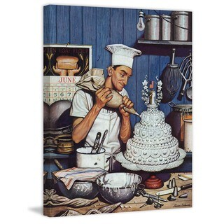 Marmont Hill - Icing the Wedding Cake by Stevan Dohanos Painting Print on Canvas - Multi-color
