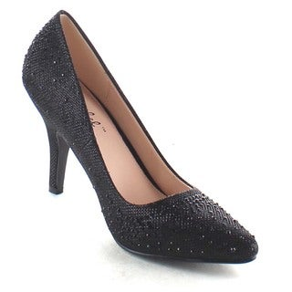 Beston Ba87 Women's Slip On Low Heel Rhinestone Dress Pumps