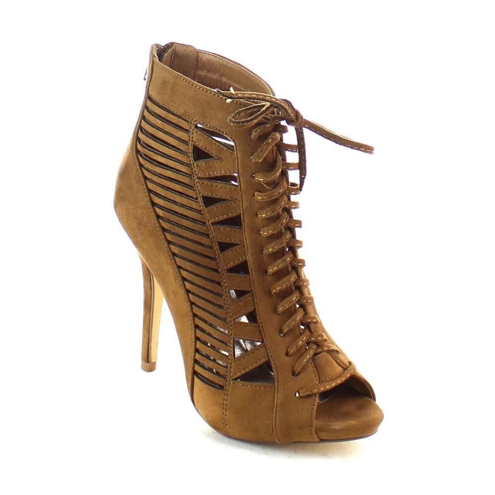 Beston BA83 Women's Zipper Lace-up Cut-out Stiletto Shoes...