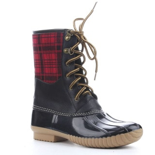 Beston Da53 Women's Lace Up Plaid Duck Rain Ankle Booties