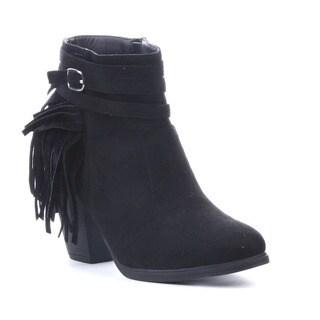 Beston Da55 Women's Side Zipper Fringe Buckle Strap Stacked Heel Ankle Booties
