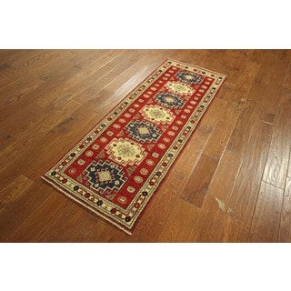 Morris Collection Hand-knotted Wool Red Super Kazak Geometric Area Rug (2'2 x 5'8)