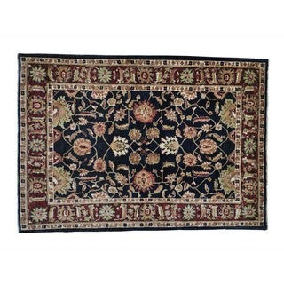 Navy Blue Hand-knotted Peshawar Pure Wool Oriental Rug (5'6 x 8')