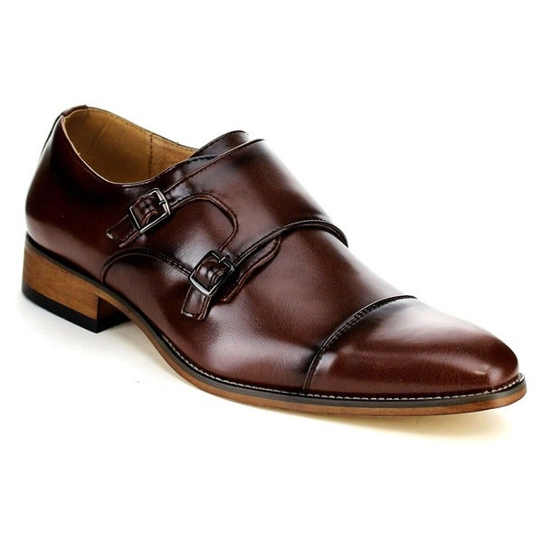Beston Men's Faux Leather Double Monk Strap Slip-on Dress Shoes